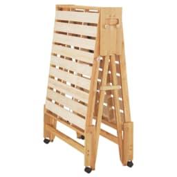 折りたたみ式ひのきすのこベッド ワイドシングルハイ (ア)ライトブラウン ストッパー使用。