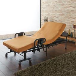 継ぎ目のないマットレスの収納式折りたたみ電動ベッド カバー付き (ア)オレンジ