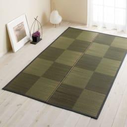 い草上敷き「ノア」(裏なし/裏付き/ふっくら) 色見本(ウ)ブラック ※写真はラグ約140×200cmタイプです。