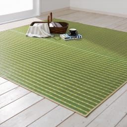掛川織い草上敷き「MODERN」 1畳【フリーカットサービス】 (エ)グリーン ※写真はラグ約190×190cmです。