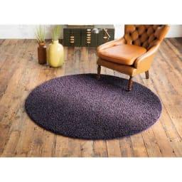 カラーシャギーラグ ツイッギー(円形) (カ)ダークパープル ※写真は円形約径150cmタイプです。