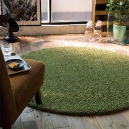 カラーシャギーラグ ツイッギー(円形) (エ)グリーン ※写真は円形約径150cmタイプです。