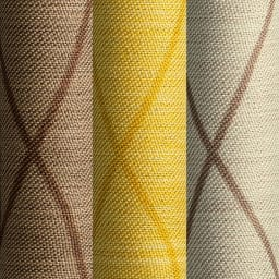 形状記憶加工多サイズ・防炎・1級遮光カーテン 100cm幅(2枚組) 左から(ソ)ウェーブブラウン(セ)ウェーブイエロー(ス)ウェーブライトベージュ
