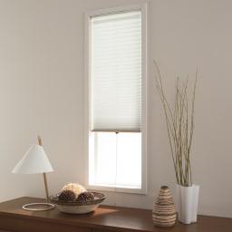 ハニカム構造の小窓用シェード(つっぱりポール付き) (ウ)ホワイト