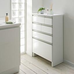 引き出しいっぱい洗面所チェスト 幅45奥行30cm 商品イメージ ※写真は幅60cm・奥行30cmのものとなります。
