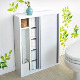 トイレ収納庫 引き戸タイプ 幅60cm・5段 使用イメージ(ア)ホワイト