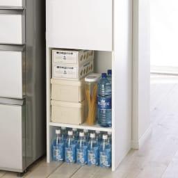 ゴミ箱上を活用できる下段オープンすき間収納庫 幅45cm 下段スペースは使い道いろいろ。