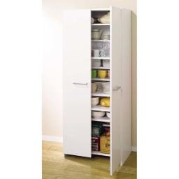 組立て不要1cmピッチ ハーフ棚ストッカー 幅45cm 棚板を最下段に設置すれば、通常のストッカーとしてご使用いただけます。(※写真は幅75cmタイプ)