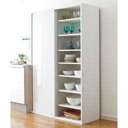 全部隠せる スライド棚付きキッチン家電収納庫 ハイタイプ 右側は食器棚やストッカーとして大活躍。可動棚7枚付き。(棚板は6cmピッチで調整できます)