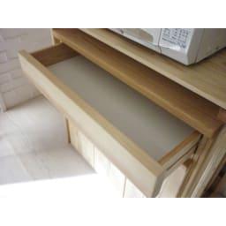国産杉のキッチン収納シリーズ 分別ダストボックス 3分別タイプ 幅72cm 収納に便利な引出付きです。