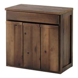 国産杉のキッチン収納シリーズ 分別ダストボックス 3分別タイプ 幅72cm (イ)ダークブラウンは、深みがある落ち着いた色味で、ミッドセンチュリーテイストのキッチンが実現できます