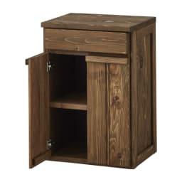 国産杉の頑丈キッチンラックシリーズ 収納庫 幅49cm (イ)ダークブラウンはヴィンテージ調で高級感があります。