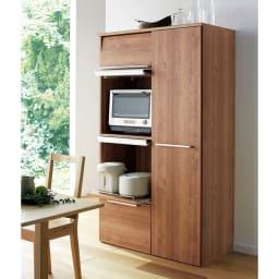 やさしい天然木風デザインの隠せる家電収納庫 ハイタイプ 奥行45.5cm (ア)ブラウン ※写真は奥行54.5cmタイプです。