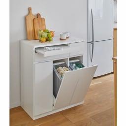 ふた開閉機能付き分別ダストボックス 3分別 幅73.5cm (ア)ホワイト 家具調のシンプルなデザイン。ダイニングのゴミ箱としても。