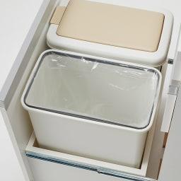 組立不要 スライド天板キッチン収納 ゴミ箱3分別 幅76cm (※写真は2分別タイプ)内側にはゴミ袋止めが付いています。
