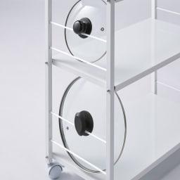 ステンレス天板頑丈キッチンワゴン 幅45cm サイドに鍋のフタが2つ掛けられるバー付き。