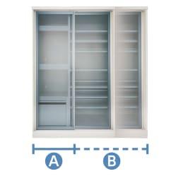 幅1cmオーダーオールインワン引き戸シリーズ 家電収納タイプ 板扉 幅100~110cm 無駄なすき間もこれで解消!幅1cm単位でオーダーを承ります。家電収納タイプ:幅90~160cmまで対応(A+B)Aの部分は各種のサイズで固定となり、Bの部分がオーダーよってサイズが変わります。