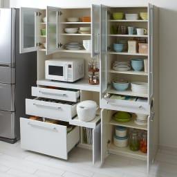 クリーンボディダイニングボードシリーズ レンジボード幅104.5cm [パモウナYC-S1050R] 食器棚に、パントリー・キッチンストッカーに十分に応える大量収納。