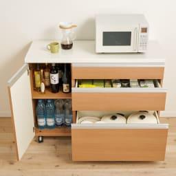 移動ラクラク 間仕切りハイグロストップカウンター 幅90cm (ウ)アイダホオーク キッチン小物をたっぷり収納でき、出し入れも簡単。 ※写真は幅120cmタイプです。