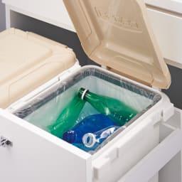 大型45Lダストボックス付きキッチンボード ロータイプ ごみ箱を丸ごと隠せて分別もラクラク。2個組だから分別に便利。フタ付きでニオイも軽減。