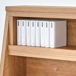 幅伸縮台形カウンター下収納 幅90~145高さ65cm 最上段は文庫本やコミック、小物を飾っても。