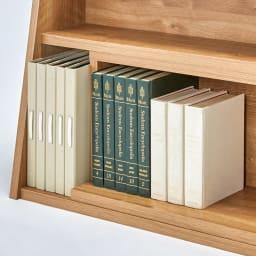 幅伸縮台形カウンター下収納 幅90~145高さ65cm 奥行きのある最下段はA4ファイルや大判の本の収納に。