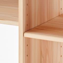 杉天然木カウンター下収納シリーズ 収納幅40高さ70cm 3cm間隔の可動棚。隣り合う棚板はダボ穴が共通のため1段以上ずらして取り付けます。