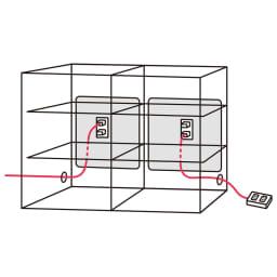 アルダーカウンター下収納庫(奥行23cm) 幅120高さ100cm コード穴は側面の両側面にあります。 コード穴から出して天板に電話を置くなど便利に使えます。
