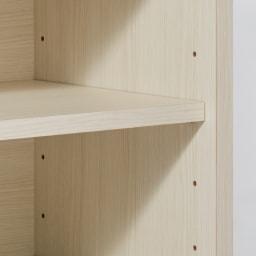 引き出し付きガラス引き戸カウンター下収納 幅90cm 棚板は6cm間隔9段階の可動式。