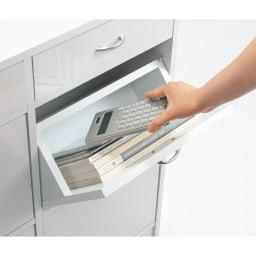 奥行19cmフラップ扉薄型収納庫 2列・幅83.5cm高さ73cm 雑誌・ノート・電卓なども。