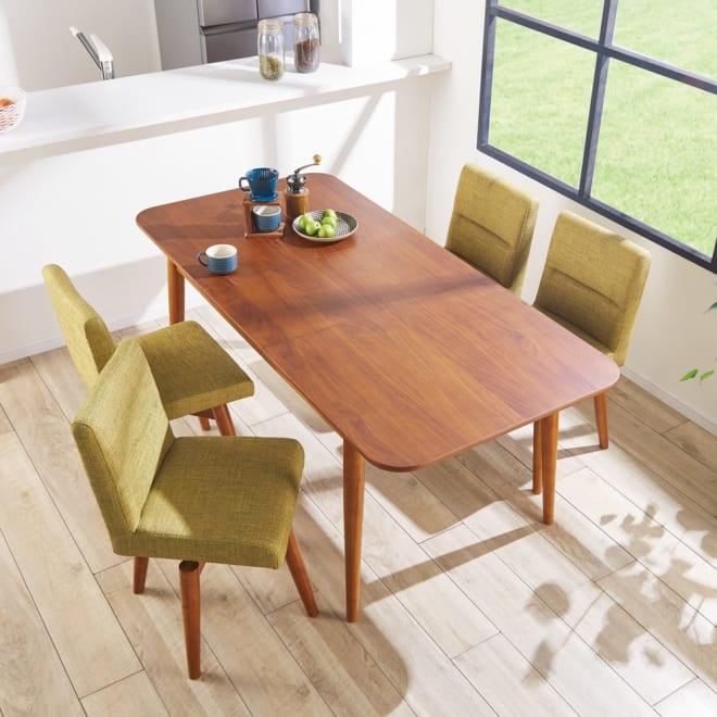 ウォールナット伸長式ダイニング テーブル 伸長式テーブル・幅130・170cm 空間にとけこむ天然木の優しい質感。 (ア)グリーン 5点セット テーブル伸長時:幅170cm