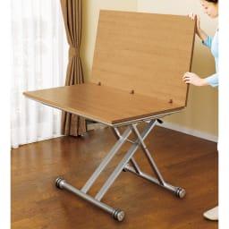 伸長式ガス圧昇降テーブル 幅120(天板110)cm 天板を広げたら伸長完了!