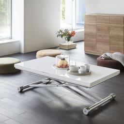 伸長式ガス圧昇降テーブル 幅120(天板110)cm 通常時(天板収納時)も、きれいな表面仕上げ。 (ア)ホワイト