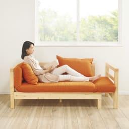 横伸縮ソファベッド フレームの伸ばし方で3段階のくつろぎスタイル【幅172cm】(ウ)オレンジ
