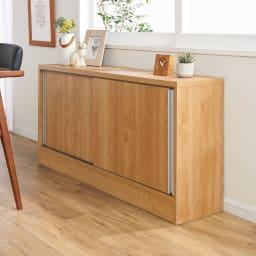 ソファ後ろ引き戸収納ラック 幅120cm (イ)ブラウン 壁付けしてもご使用いただけます。