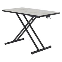 セラミック天板昇降リビングテーブル (ア)ホワイト系