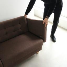 デザインにこだわったソファベッド 幅176cm奥行70cm 肘掛けと脚部が取り付け式ですので・・・