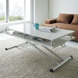 棚付き昇降式テーブル 幅102(天板90)cm サッとしまえる棚付きリフトテーブルで天板すっきり!(ア)ホワイト ※高さ47cm時 ※写真は幅120cmタイプです。