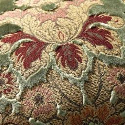 イタリア製 花柄が艶やかな 金華山織張 DXソファ トリプル(3人掛け) ビロードの模様を金糸、銀糸で織り出す「金華山織」。そのあでやかな美しさで、西陣織の帯などにも用いられる高級毛織物です。
