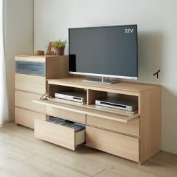パモウナGV-80ダイニングからシアターリビングシリーズ テレビ台 幅80cm (イ)ナチュラル ※写真は(左)キャビネット、(右)テレビ台・幅120cmタイプです。