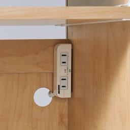 プリンターが使いやすいワゴン付きPCキャビネット 幅60cm ワゴン収納部には、コンセントとコード穴付き。