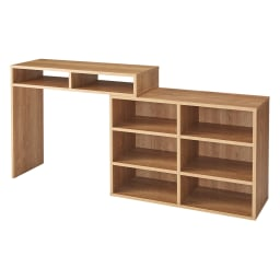 本棚付き無段階スライドデスク オープンタイプ (ア)ブラウン 幅90~169cmの間で無段階伸縮します。