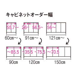 配線すっきり幅オーダーデスク キャビネット 幅60~150cm(1cm単位オーダー) 【キャビネットオーダー幅】※赤文字は内寸(単位:cm)