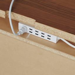 奥行35cm薄型ホームオフィス デスク 幅120cm 「配線すっきり」へのこだわり。電源タップはデスク背面の収納部に。