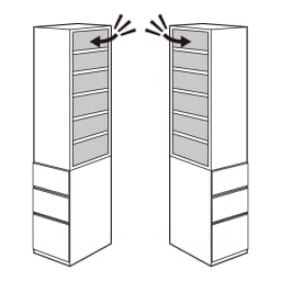 幅が選べるデスクサイドラック 幅39奥行45cm 上部ラックの向きは左右に組み替え可能。