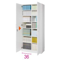 鍵付き本棚ハイタイプ 幅80奥行45高さ180cm 商品イメージ:(ア)ホワイト ※赤文字は内寸(単位:cm)、三角マークは固定棚です。