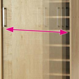 省スペースで大量収納!天然木調引き戸本棚 ロータイプ 高さ90幅78奥行25cm 開閉スムーズな引き戸。
