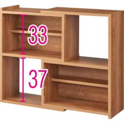天然木調 伸縮式ブックシェルフ 2段・幅60~93cm (ア)ブラウン(最大幅) ※赤字は内寸(単位:cm)