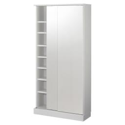 頑丈棚板引き戸本棚 奥行31.5cm(幅75.5/幅89.5cm) 【壁面収納】 商品イメージ(ア)前面:ミラー・本体:ホワイト 写真は幅89.5cmタイプです。