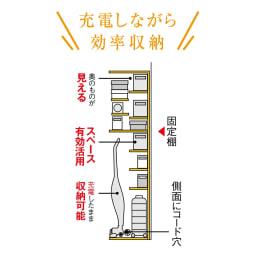 掃除機もしまえる引き戸本棚 ミドルタイプ(幅74高さ125cm) 【見せたくない家電もおまかせ】固定棚が床上約120cmと高めの設計で、側板にコード穴もあるので、出しっぱなしになりがちな充電式の掃除機も配線したまま収納可能。※画像はハイタイプのイラストになります。